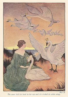 "Illustration for ""The Wild Swans"".   ""Andersen's Fairy Tales; translated by Valdemar Paulsen with illustrations by Milo Winter"", 1916, Rand McNally & Co. USA."