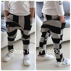 2013 new Children's clothing 2013 black and gray stripe big zipper kids 100% cotton harem pants casual pants boys girls pants