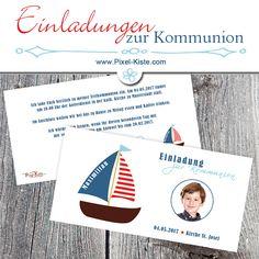 Einladungen Zur Kommunion Mit Boot Und Foto Online Gestalten Lassen Ab 0,80  Euro #