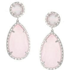 Sterling Essentials Silver Pave Jade and CZ Drop Earrings ($37) ❤ liked on Polyvore featuring jewelry, earrings, cubic zirconia drop earrings, silver drop earrings, cz earrings, pink cubic zirconia earrings and pink jade earrings