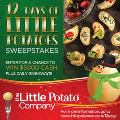 12 Days of Little Potatoes Giveaway Canadian Contests, Free Sweepstakes, Online Job Search, Facebook Giveaway, Little Potatoes, Instagram Giveaway, Win Prizes, Gift Card Giveaway, Holiday Recipes