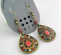 Multi Enamel Filled Bronze Color Tear Drop Dangle Earrings