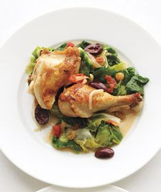 Braised Chicken With Escarole, Tomatoes, and Olives Recipe