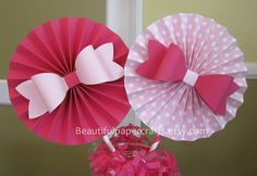 2 6 Pink Bows Rosettes Centerpieces Paper by BeautifulPaperCrafts