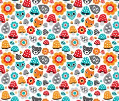 Autumn forest animals  fabric by littlesmilemakers on Spoonflower - custom fabric