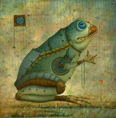 frog, art, mechanical frog.
