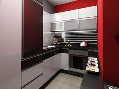 Interior Ideas of the Red and Gray Scheme Kitchen for Apartment Design with Modern White U Shaped Base Cabinet that have Black Countertop complete with the Appliance also Simple Wall Mounted Cabinet that have Storage Space