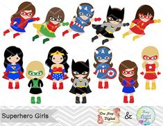 27 niña superhéroes Digital Clip Art por TracyDigitalDesign en Etsy