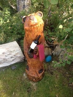 4' Bear Holding Wine Bottle