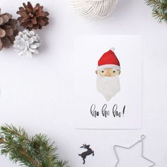 Cute Santa Christmas Calligraphy Poster Print by JenWagnerCO