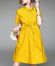 Yellow cotton blend gathered shirt dress Sale - ALAROO Sale