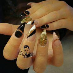 All powder  Black gold white nude glitter stiletto nail art