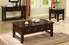 Cappuccino Coffee Table with Storage Drawers