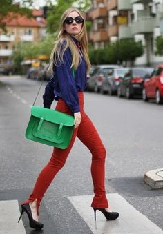 Cambridge Satchel, Flying A Pants, Zara Heels, Vintage Silk Shirt Color Blocking Outfits, Colour Blocking Fashion, Cambridge Satchel, Split Complementary Colors, Estilo Street, Zara Heels, Scandinavian Fashion, Colored Pants, Fashion Clothes