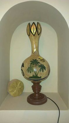 Gourds Birdhouse, Gourd Lamp, People Art, Bird Houses, Lanterns, Lights, Gourd Crafts, Woods, Landscape