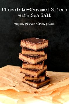 6-Ingredient Chocolate & Caramel Slices   Vegan, GF, Paleo