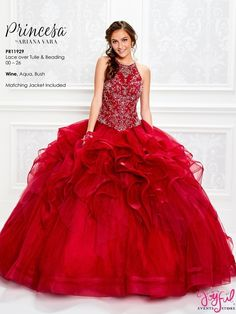 The fabric in this Princesa by Ariana Vara style is Lace over Tulle & Beading. This style comes with a matching Jacket Quinceanera Collection Dress Colors: Blush,Wine,Aqua. Quince Dresses, 15 Dresses, Fashion Dresses, Girls Dresses, Ball Dresses, Pretty Dresses, Tulle Balls, Tulle Ball Gown, Ball Gowns