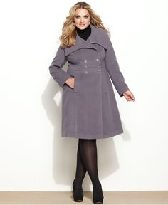 Alfani Plus Size Coat, Double-Breasted A-Line Walker - Plus Size Coats - Plus Sizes - Macy's