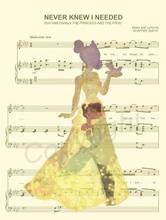 The Princess and the Frog Sheet Music Art Print