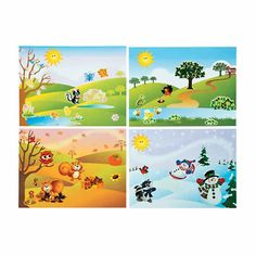 Cute sticker scenes from Oriental Trading Company. (This is just a picture- website and full pin description in the comments. Spring Activities, Hands On Activities, Science Activities, Four Seasons Art, Season Calendar, Kids Background, Free To Use Images, Baby Hats Knitting, Fathers Day Crafts