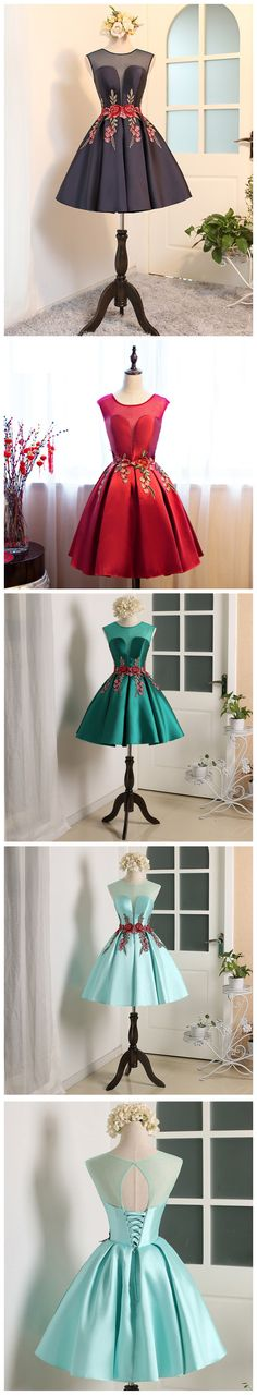 A-line Scoop Short Mini Short Prom Dress Homecoming Dresses With Appliques