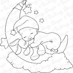 Whimsy Stamps February release Fabric Painting Tutorial: Within this tutorial we'll demonstrate guid Sleeping Drawing, Baby Drawing, Whimsy Stamps, Digi Stamps, Colouring Pages, Coloring Books, Cute Drawings, Pencil Drawings, Baby Motiv