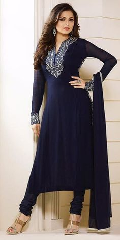 Outstanding Blue And White Georgette Straight Suit.