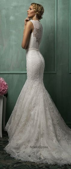 White and Gold Wedding. Sweetheart Neckline, Lace Trumpet Wedding Dress. Amelia Sposa 2014 Wedding Dresses | bellethemagazine.com