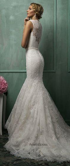 White and Gold Wedding. Sweetheart Neckline, Lace Trumpet Wedding Dress. Amelia Sposa 2014 Wedding Dresses | bellethemagazine.com