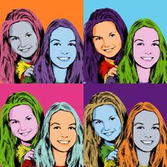 Pop art portrait of a teenager with her little sister.
