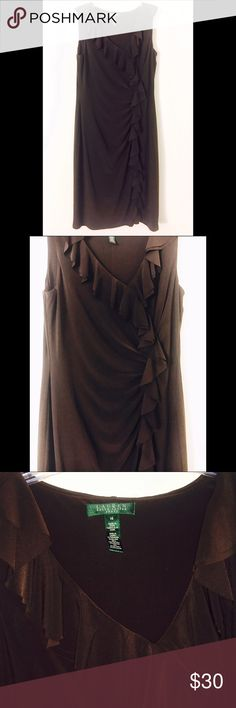 """Brown Ruffled Midi Dress New without tags, very stretchy. Tight fitting yet lots of room ! 43 1/2"""" length Lauren Ralph Lauren Dresses Midi"""