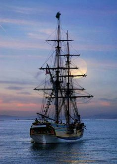 Pirates of the Caribbean - HMS Interceptor makes way under a Full Moon. however, really this is my ship, Lady Washington, who played the Interceptor. Tall Ships, Water Pictures, Cool Pictures, Beautiful Pictures, Bateau Pirate, Old Sailing Ships, Ocean Sailing, Beautiful Moon, Beautiful Things