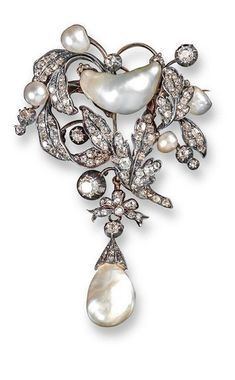 A Victorian natural pearl and diamond foliate brooch, the leaves set with graduated old cushion~shaped diamonds amongst natural pearls. Suspending a further natural pearl drop. - jewelry, fine, geometric, rajasthani, unusual, handmade jewellery *ad