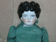 Antique China Head Doll  15 In. Tall   Hand Stiched Clothes Pretty Face Color