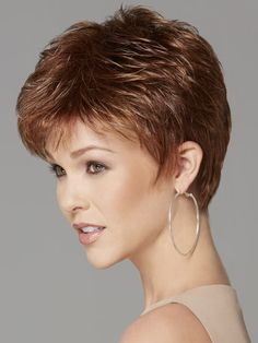 Shop our online store for pixie cut hair wigs for women. These natural hair and synthetic wigs fit mini petite, petite, average and large head sizes. Cropped wig styles include straight, wavy and curly textures in a variety of hair colors and styles. Layered Bob Hairstyles, Short Pixie Haircuts, Pixie Hairstyles, Hairstyles With Bangs, Fashion Hairstyles, Really Short Hair, Short Hair With Bangs, Short Hair Cuts For Women, Short Hair Styles