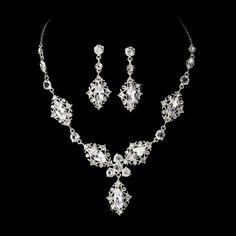 Vintage Silver Bridal Jewelry Set NE 8315