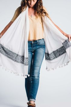 Konark Charcoal/White Cotton Scarf - Bloom & Give