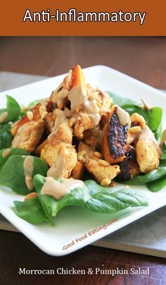 Morrocan Chicken and Pumpkin Salad an anti inflammatory meal. Best Chicken Recipes, Whole Food Recipes, Cooking Recipes, Healthy Snacks, Healthy Eating, Healthy Recipes, Diet Recipes, Pumpkin Salad, Superfood Salad