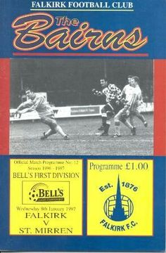 Falkirk 2 St Mirren 2 in Jan 1997 at Falkirk Stadium. Programme cover for the Scottish Division 1 clash.