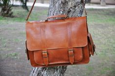Leather Messenger Bag 17 inch Laptop Bag Tobacco by Leatherhood