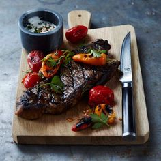 Grilled New York Strip Steak with Tomatoes and Peppers | Williams-Sonoma