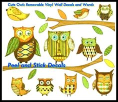 Cute Owls Removable Vinyl Wall Decals and Words http://peelnstickdecals.blogspot.com/2013/07/cute-owls-removable-vinyl-wall-decals.html  http://www.peelnstickdecals.com/products/four-birdcage-tree-branch2