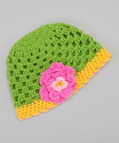 Love the colors of this crocheted beanie!
