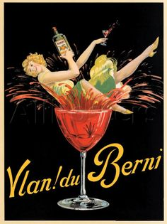 Vintage French Vlan Du Berni Funny Girl Makes A Splash In Glass Ad Advertising Poster Giclee Art Print Canvas Option **Please note: additional Vintage Store, Vintage Wine, Logo Vintage, Vintage Ads, Vintage Prints, Retro Poster, Poster S, Canvas Poster, Vintage Advertising Posters