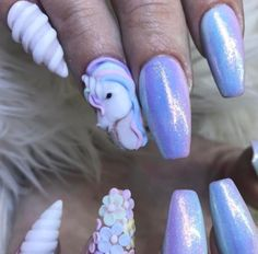 Lilac unicorn nails