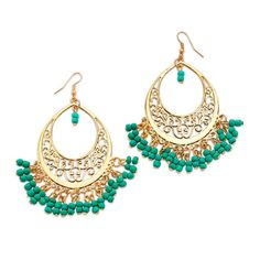 Turquoise and gold chandelier earrings with cutout detail are statement earrings but still light and airy.