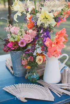 mixed flowers // photo by The Weaver House // http://ruffledblog.com/bohemian-ashland-wedding