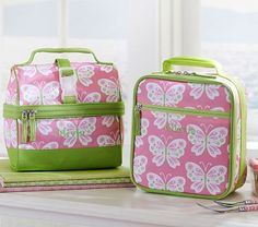Mackenzie Pink Butterfly Lunch Bags #PotteryBarnKids