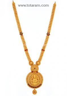 Gold in Lakshmi Long Necklace (Temple Jewellery): Totaram Jewelers: Buy Indian Gold jewelry & Diamond jewelry Jewelry Design Earrings, Gold Earrings Designs, Gold Jewellery Design, Diamond Jewelry, Gold Jewelry, Gold Necklace, Gold Pendent, Temple Jewellery, Horse Farms