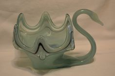 Vintage 1960's Hand Blown Art Glass Green Swan by BigBlossomAntiques on Etsy